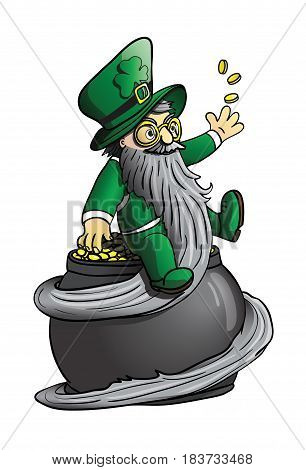 Happy leprechaun sitting on a pot of gold