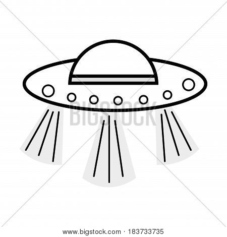 figure UFOs in the galaxy space and mysterious creation, vector illustration