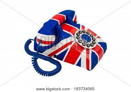 Union Jack telephone with pattern of British flag isolated on the white background. Telephone closeup isolated on white. British telephone. Telephone isolated on white background