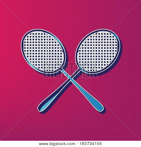 Tennis racquets sign. Vector. Blue 3d printed icon on magenta background.