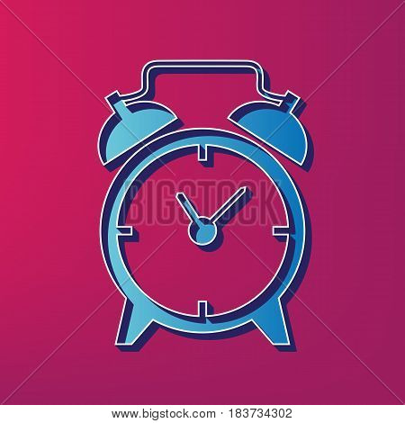 Alarm clock sign. Vector. Blue 3d printed icon on magenta background.