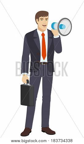 Businessman with loudspeaker and briefcase. Full length portrait of businessman character in a flat style. Vector illustration.