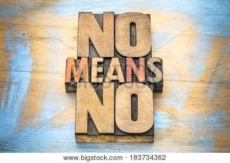 No means no anti-rape slogan -  communication concept - word abstract in vintage letterpress wood type