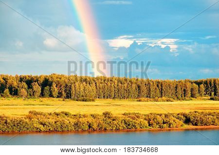 Autumn rural landscape - birds eye view of autumn forest and bright rainbow over forest autumn trees. Yellowed forest autumn trees - autumn landscape view from height. Soft focus applied. Autumn nature landscape in sunny weather