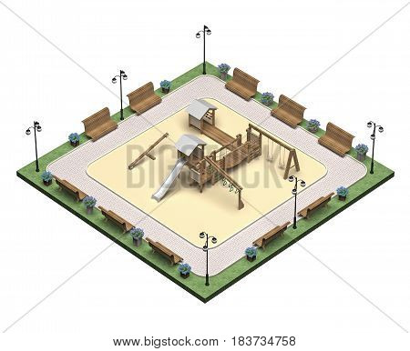 square child playground isometric view. 3d rendering