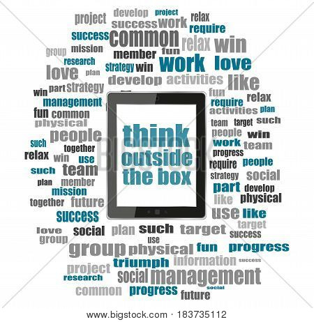 Text Think Outside The Box. Education Concept . Tablet Pc With Word Cloud Collage