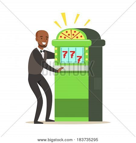 Happy, man is playing slot machine, jackpot. Casino slot machine. Colorful cartoon character vector Illustration isolated on a white background