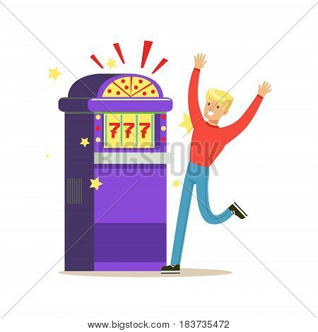 Man winning jackpot at slot machine. Casino slot machine. Colorful cartoon character vector Illustration isolated on a white background