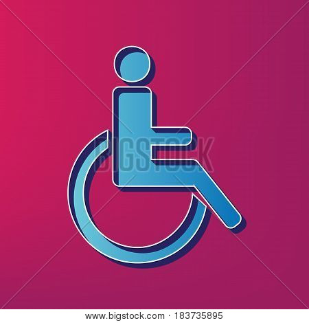 Disabled sign illustration. Vector. Blue 3d printed icon on magenta background.