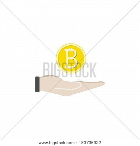 Coin in hand solid icon, finance and business, bitcoin sign vector graphics, a filled pattern on a white background, eps 10.