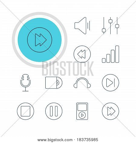 Vector Illustration Of 12 Melody Icons. Editable Pack Of Earphone, Acoustic, Audio And Other Elements.