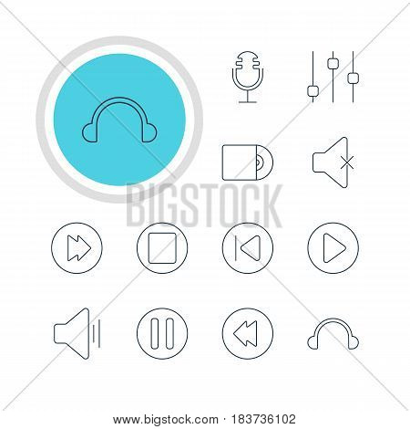 Vector Illustration Of 12 Music Icons. Editable Pack Of Reversing, Earphone, Mike And Other Elements.