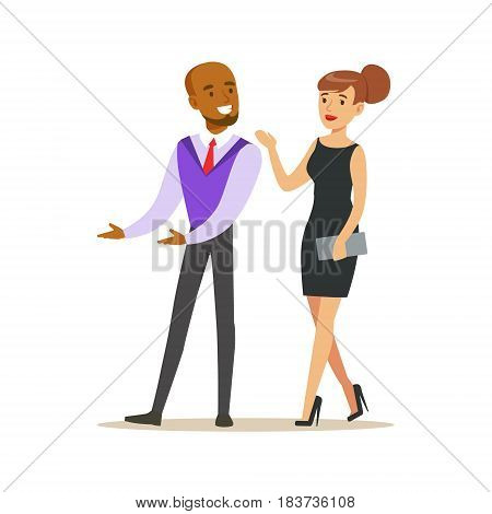 Young couple of handsome elegant man and beatuful woman in black evening dress. Colorful cartoon character vector Illustration isolated on a white background