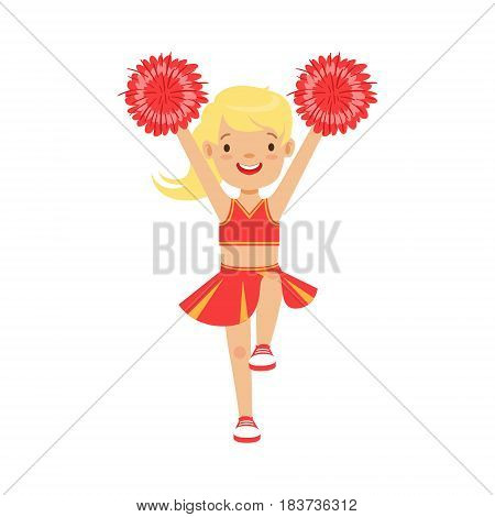 Cute little blond cheerleader girl dancing with red pompoms. Red and yellow cheerleader uniform. Colorful cartoon character vector Illustration isolated on a white background
