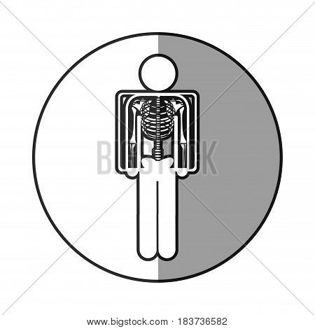 circular frame shading with pictogram patient and radiography vector illustration