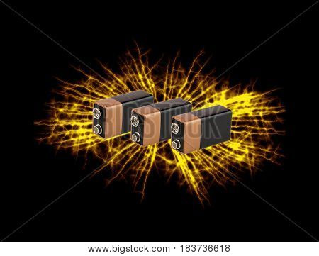 Fiery Explosion of lithium-ion batteries on black background.