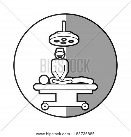 circular frame shading with pictogram patient in surgery vector illustration