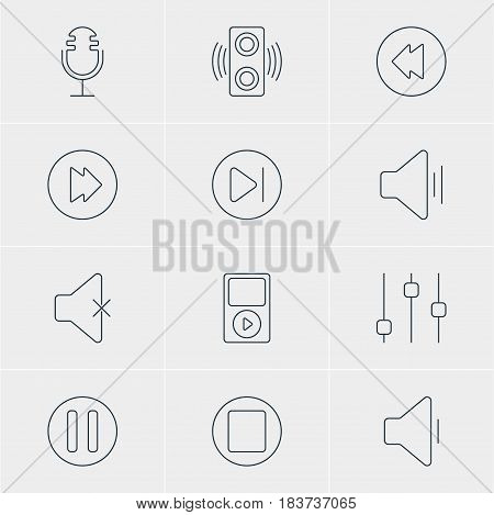 Vector Illustration Of 12 Melody Icons. Editable Pack Of Amplifier, Stabilizer, Audio And Other Elements.