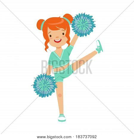 Cute little red haired girl dancing with blue pompoms. Light blue cheerleader uniform. Colorful cartoon character vector Illustration isolated on a white background
