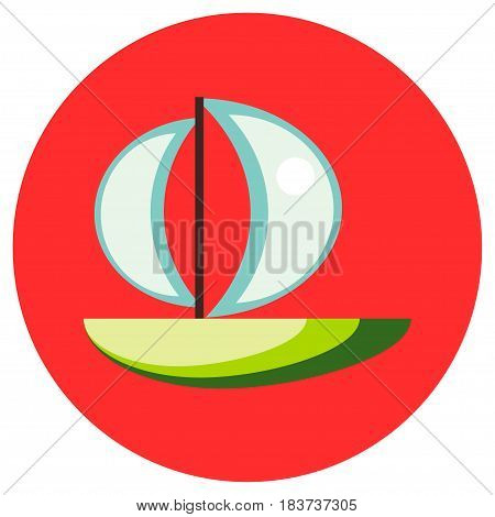Icons sailfish of toys in the flat style. Vector image on a round colored background. Element of design, interface