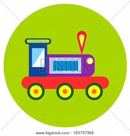 Icons trains of toys in the flat style. Vector image on a round colored background. Element of design, interface.
