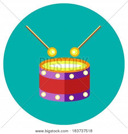 Icons drum of toys in the flat style. Vector image on a round colored background. Element of design, interface