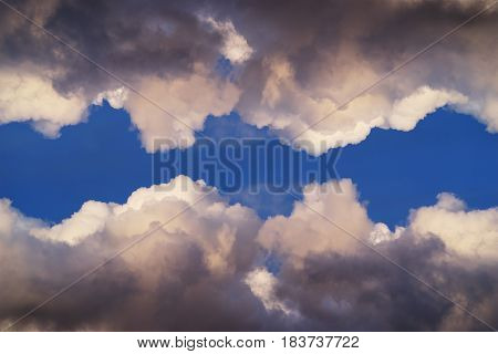 unusual clouds in the sky background. concept