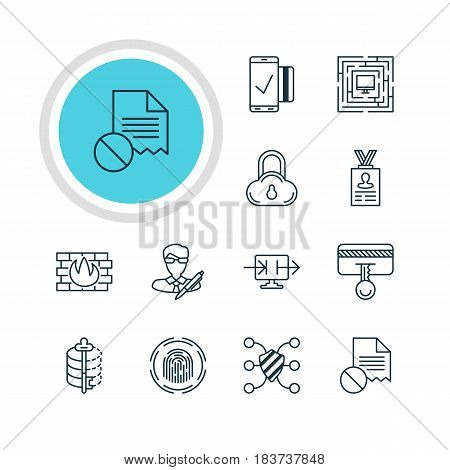 Vector Illustration Of 12 Privacy Icons. Editable Pack Of Encoder, Account Data, Data Error And Other Elements.