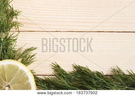 Food frame. Space for text. Wooden background.