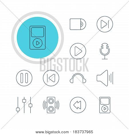 Vector Illustration Of 12 Melody Icons. Editable Pack Of Compact Disk, Mp3, Earphone And Other Elements.