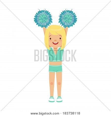 Cute little blond girl dancing with blue pompoms. Light blue cheerleader uniform. Colorful cartoon character vector Illustration isolated on a white background