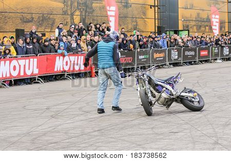 St. Petersburg Russia - 15 April, Spinning the bike around yourself,15 April, 2017. International Motor Show IMIS-2017 in Expoforurum. Sports motorcycle show of bikers on the open area.