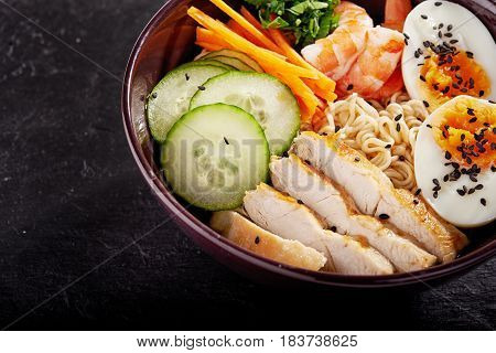 bowl of japanise ramen noodle with chicken.