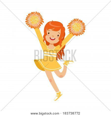 Cute little red haired girl dancing with yellow pompoms. Yellow cheerleader uniform. Colorful cartoon character vector Illustration isolated on a white background