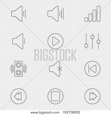 Vector Illustration Of 12 Melody Icons. Editable Pack Of Volume Up, Acoustic, Start And Other Elements.