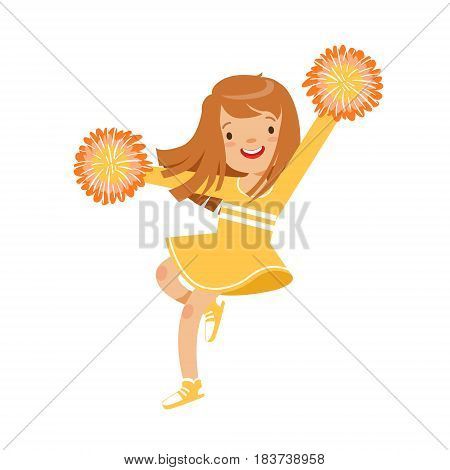 Happy little cheerleader girl dancing with yellow pompoms. Yellow cheerleader uniform. Colorful cartoon character vector Illustration isolated on a white background