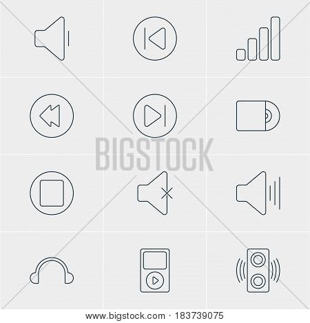 Vector Illustration Of 12 Music Icons. Editable Pack Of Earphone, Amplifier, Compact Disk And Other Elements.