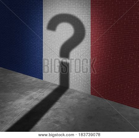 Uncertainty in France or French vote and election questions as a red whitre and blue flag painted on a wall with the shadow of a question mark as a political metaphor for European confusion with 3D illustration elements.