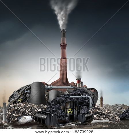 Climate change denier concept and global warming skeptic as a group of industrial pollution symbols shaped as a human head with a pinocchio nose as an environmental metaphor for weather changing denial with 3D illustration elements.