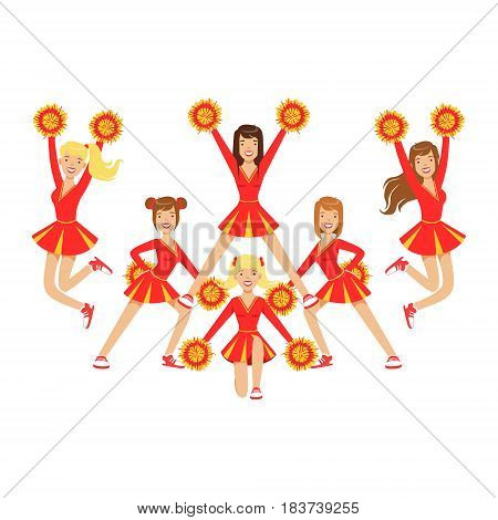 Cheerleader girls with pompoms dancing to support football team during competition. Red and yellow cheerleader uniform. High school cheerleading team. Colorful cartoon character vector Illustration isolated on a white background