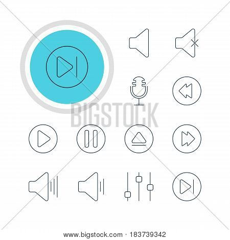 Vector Illustration Of 12 Music Icons. Editable Pack Of Rewind, Lag, Reversing And Other Elements.