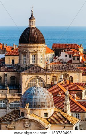 Assumption Cathedral, Church of Saint Blaise in the old part in Dubrovnik, Croatia.