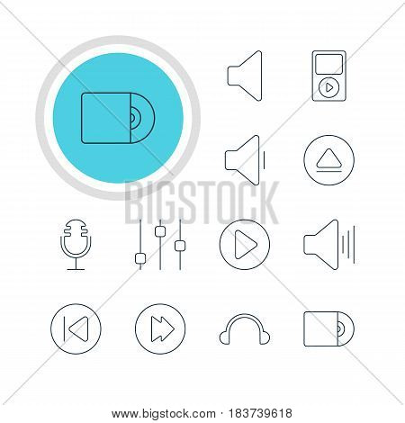 Vector Illustration Of 12 Music Icons. Editable Pack Of Compact Disk, Mp3, Volume Up And Other Elements.