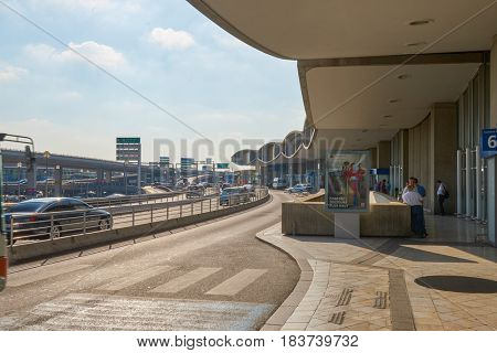 PARIS, FRANCE - CIRCA SEPTEMBER, 2014: Charles de Gaulle Airport terminal at daytime. The airport is the largest international airport in France.