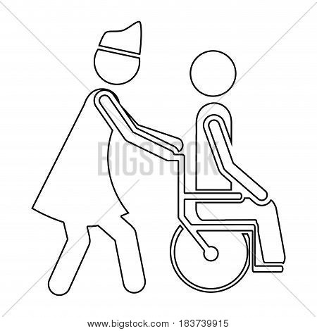 silhouette nurse helping another person push a wheelchair vector illustration