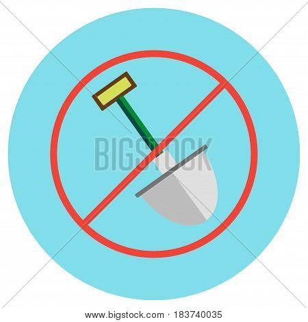 Icons of a shovel crossed in a circle in a flat style. Vector image on a round colored background. Element of design, interface.