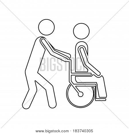 silhouette person helping another push a wheelchair vector illustration
