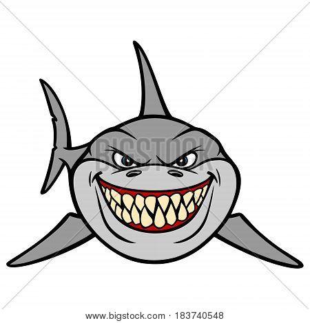 A vector illustration of a cartoon shark.