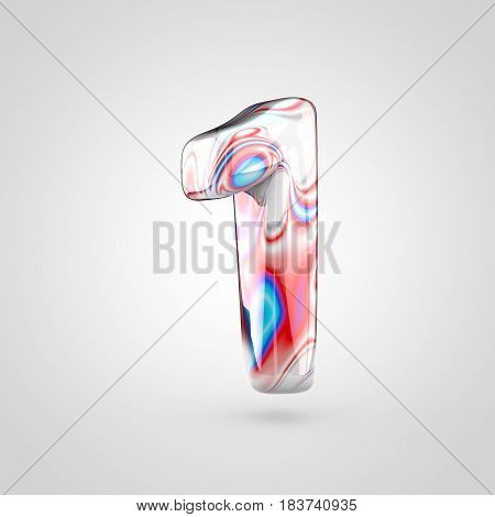 Glossy Water Marble Number 1 Isolated On White Background