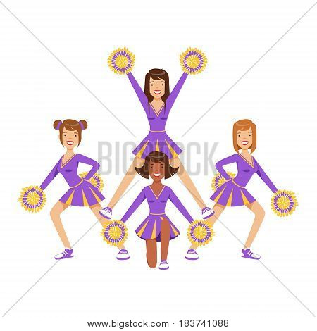 Cheerleader girls with colorful pompoms dancing to support football team during competition. High school cheerleading team. Purple cheerleader uniform. Colorful cartoon character vector Illustration isolated on a white background